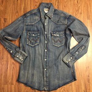 Wrangler Western Pearl Snap Denim Shirt Medium